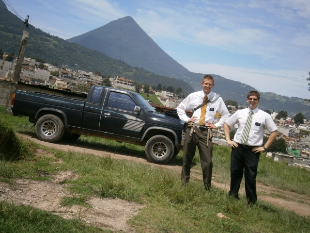 Hey! Its me and Elder Albert!! Behind us, that's the Santa Maria volcano at the back of my area.
