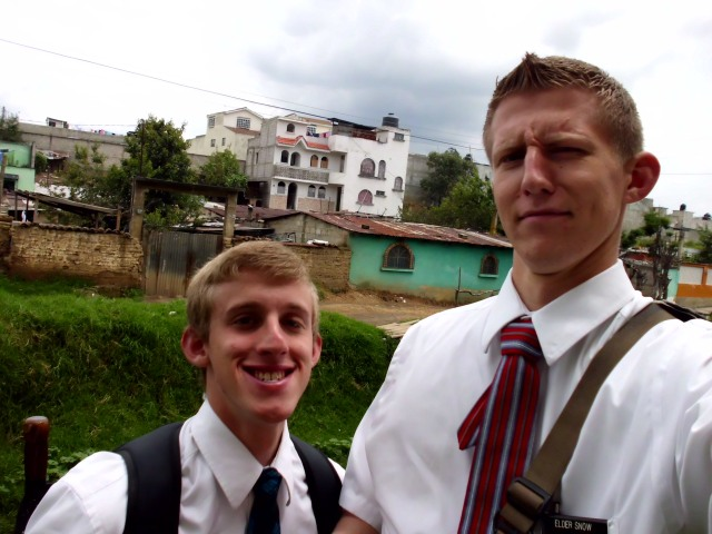 I have a picture for you! I have a new companion! Elder Albert got emergency changes late Thursday night. This is my new companion. Elder Banks!! ANOTHER GRINGO!! He has 19 months in the mission. He is from Washington. I never ever thought we would ever be companions. I have known him ever since I got to the mission.