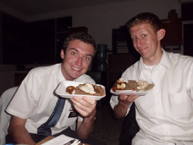 Here is Elder McGrath who has 20 months in his mission. Here we are eating a dish that my old friend Magdalena made us! ANOTHER GRINGO!!