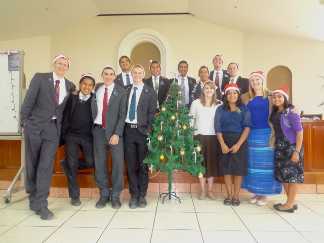 We had our Christmas celebration today as a zone, so we all took a zone picture together with Santa hats. It was fun!