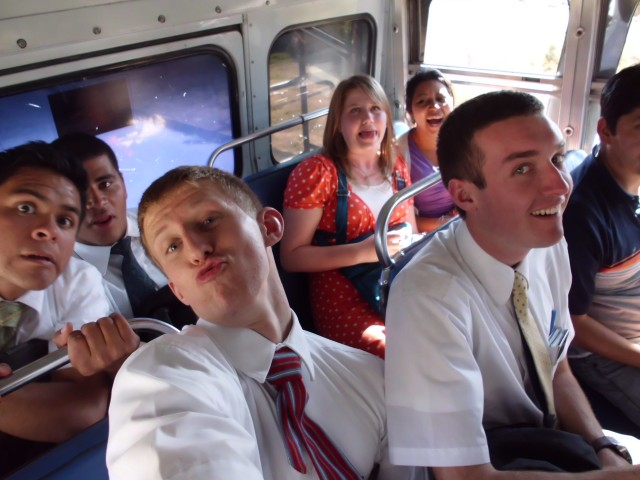 We went to a place called San Cristobal today for our preparation day. This is us on the bus ride down. Teeeee heeeee.