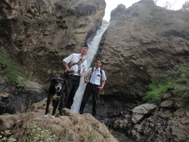 I went on Divisions to a place called Pancà, where the largest waterfall is in Momos and I took pics there with Elder Hurtado from Peru, and Jackson, the dog that followed us along the whole way, and protected us from the other meaner dogs.