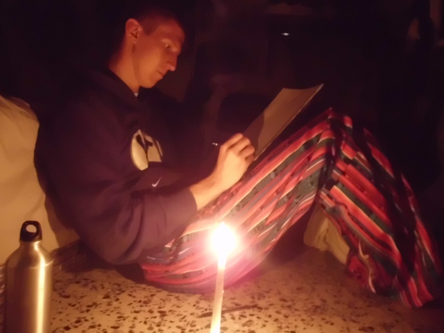 We are in Xela writing this week because Momos has no power! That is why we are writing so early. So we are recharging phones and showering and buying food here today in Xela. here is a pic of me writing you gys a letter in candlelight! =) It should be there next week. It was fun! I felt like George Washington.