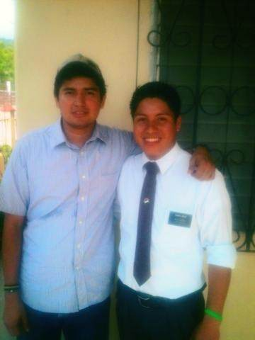 Hey!! A fun little update... Paniagua saw my first convert Josue last week as a missionary! Josue is serving in Honduras right next to where Paniagua is... here  is a really crappy photo.