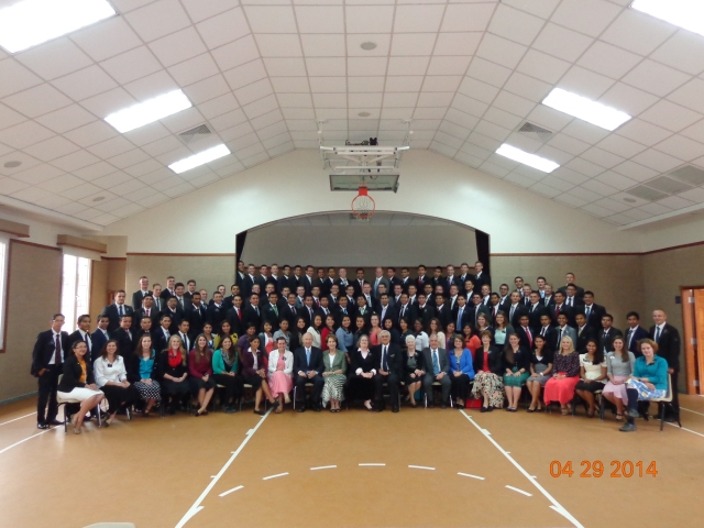 Here is a photo of when Elder Clarke was here. P.S. I am at the right hand side P.P.S. I am the tallest in the mission right now =) P.P.P.S. uh... this is only half of the mission though. They had another conference in Huehue before I got here.