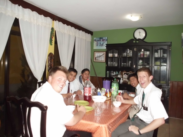 In good news... I had a surprise party for when I had my 2 year birthday! Elder Rodriguez and the other Elders secretly planned a Taco dinner for me in the house of a member on the 30th to celebrate. This member is the richest one in the area, so the tacos were actually really good. I have a good companion, and I share an area with some great guys. They also made me a wallet out of a Doritos bag as a gift. Cool beans.